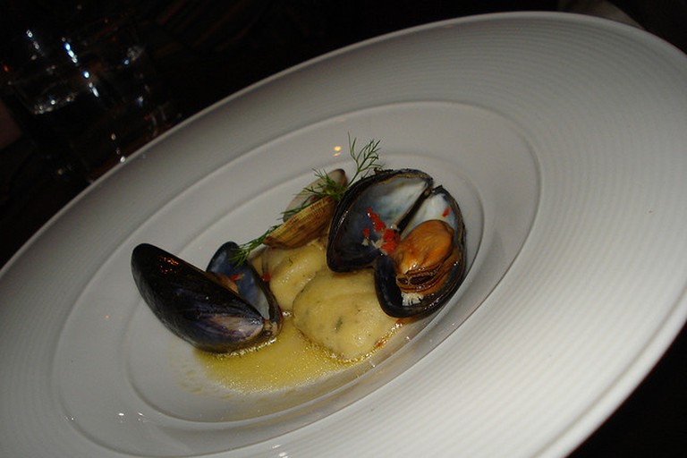 The lightest potato and herb gnocchi with mussels, clams, chilli, Amalfi lemon and fennel tops