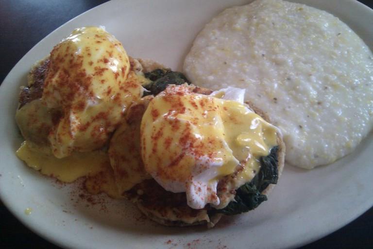 Crabcake Benedict w grits at Atlanta's Highland Bakery