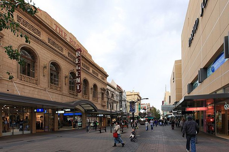 Rundle Mall, Adelaide, looking west from near the Adelaide Arcade