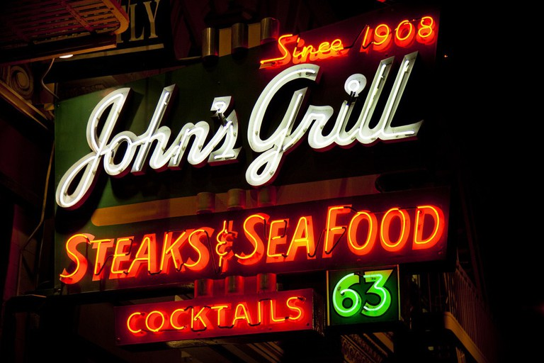 John's Grill lights up the night