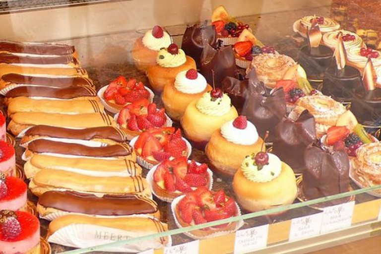 A colorful bakery display