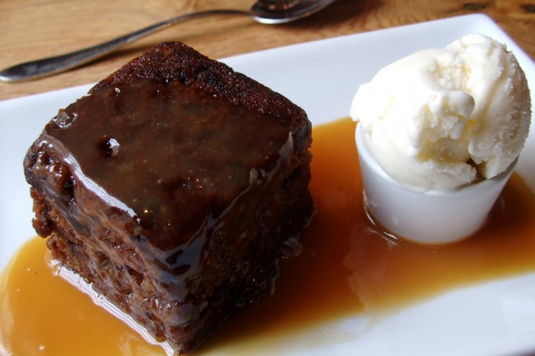 A traditional sticky toffee pudding