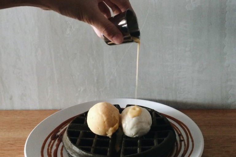 Gourmet Waffles with Double Scoop