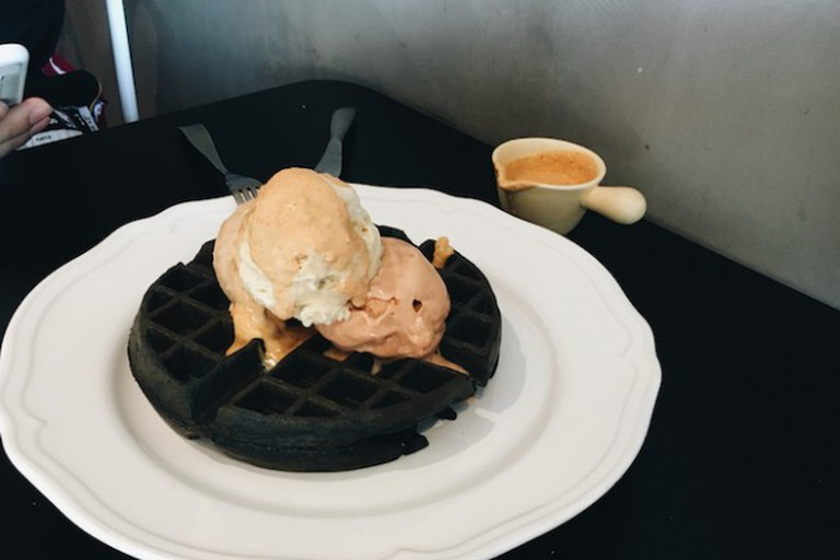 Charcoal Waffle with Triple Scoop and Salted Egg Sauce