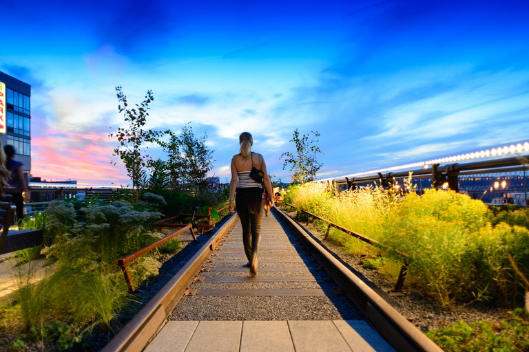 Walking the High Line at Sunset