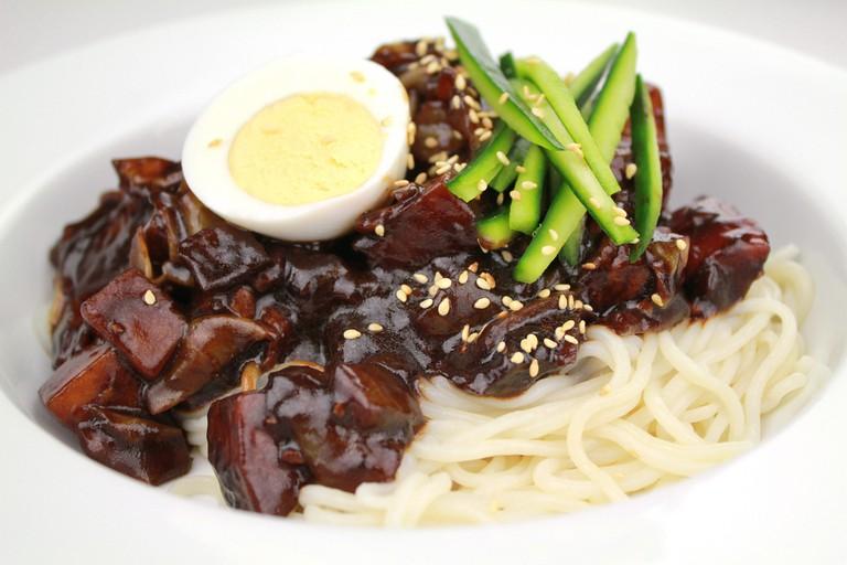 Noodles with black bean paste[Jajangmyeon