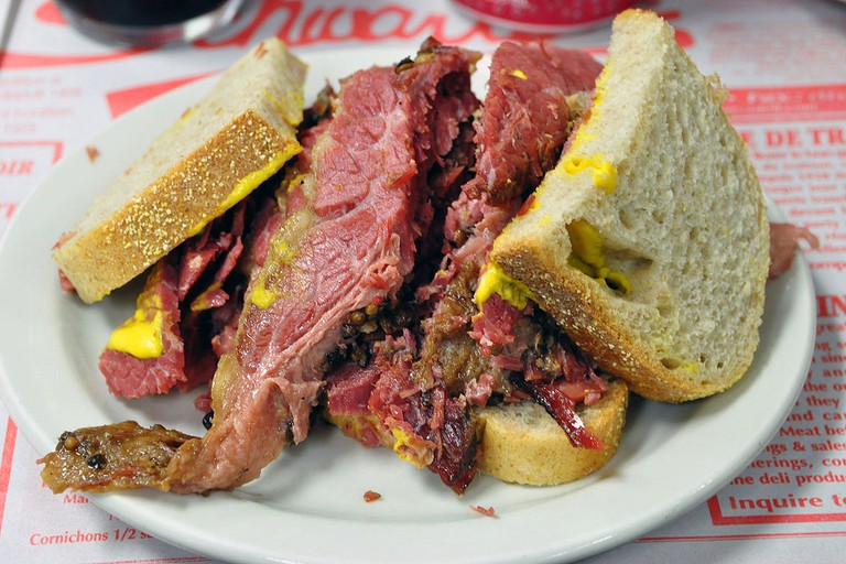 A Montreal-style smoked meat sandwich