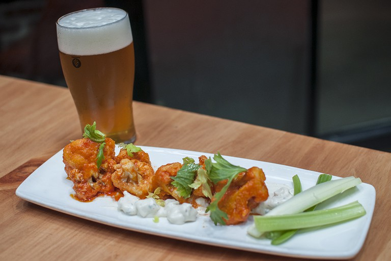 Buffalo cauliflower and beer