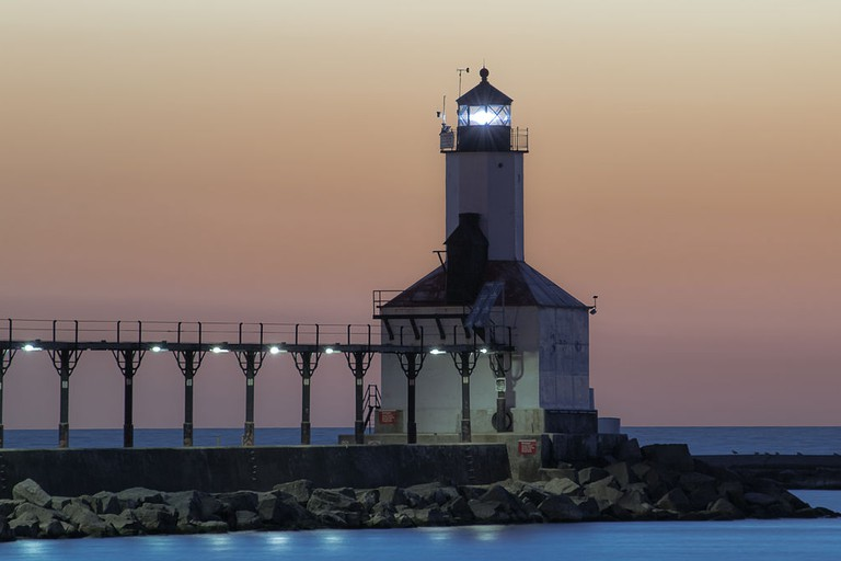 The iconic Michigan City lighthouse