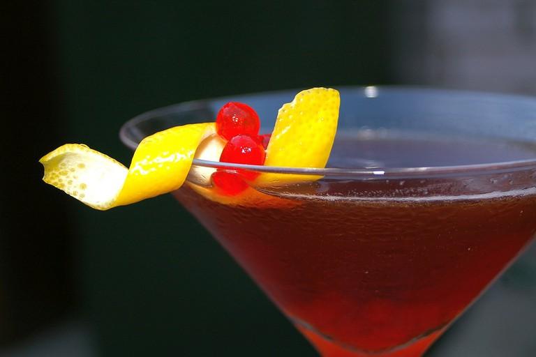 Rum Manhattan with Maraschino Caviar