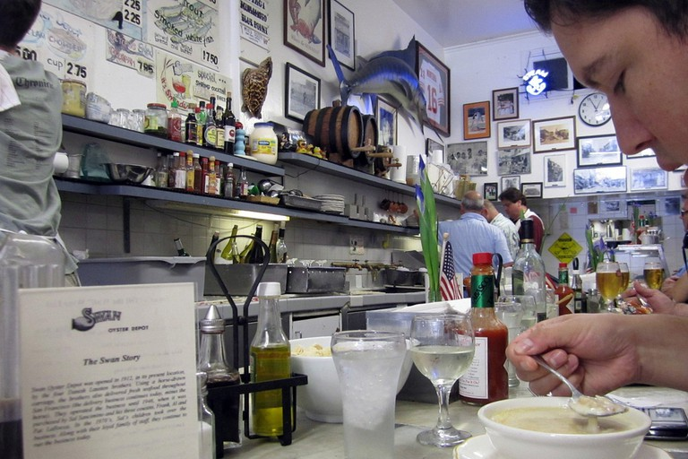 Trying a bowl of Swan Oyster Depot's amazing clam chowder