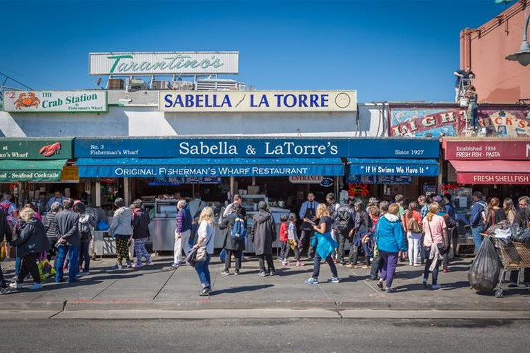 Stop by for a quick bite at Sabella & La Torre's outdoor restaurant in Fisherman's Wharf