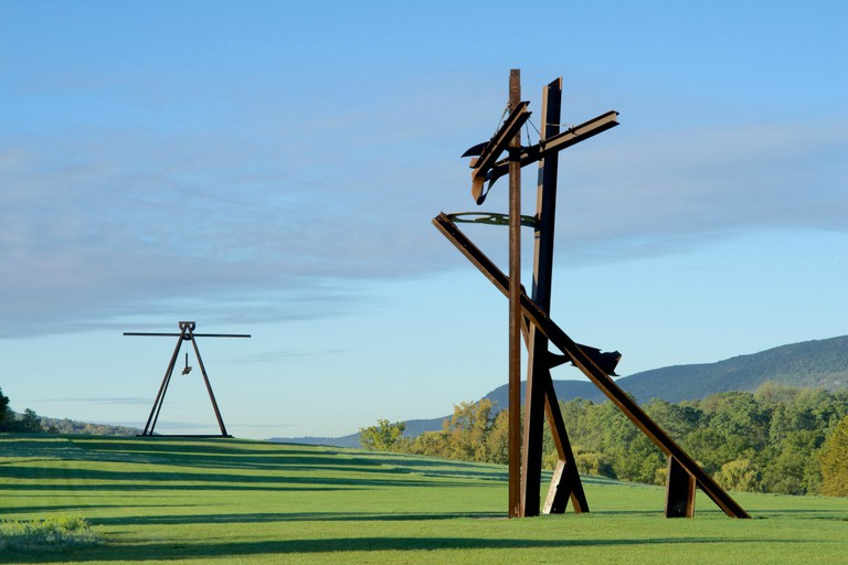 View of the South Fields, all works by Mark di Suvero.Pyramidian, 1987/1998.Gift of the Ralph E. Odgen Foundation. Jeanne, 2014-2015