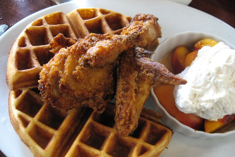 Chicken and waffles with peaches and cream