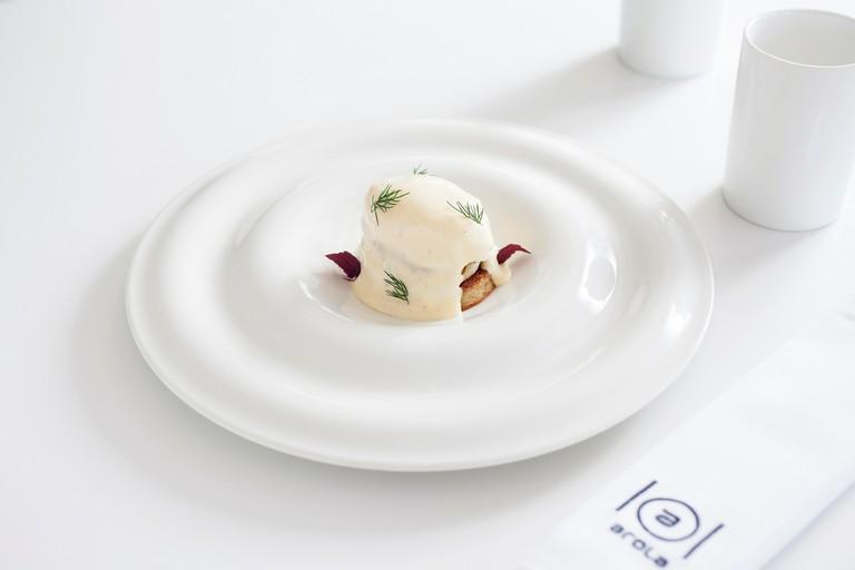 Eggs Benedict at the Arola restaurant in the Arts Hotel