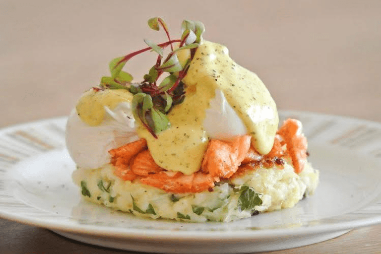 Potato hash, served with Tasmanian double hot smoked salmon