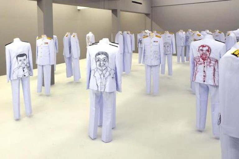 Jakkai Siributr, Rape and Pillage, 2013, embroidery on 39 Thai civil service uniforms, dimensions variable