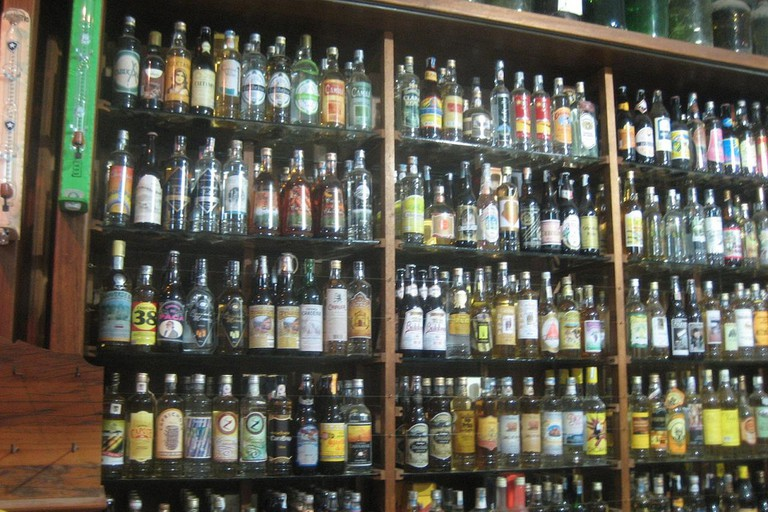 Some of the many brands of cachaça