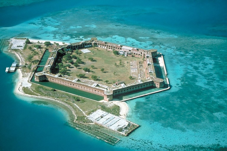 Fort Jefferson on Garden Key, from northeast, Dry Tortugas