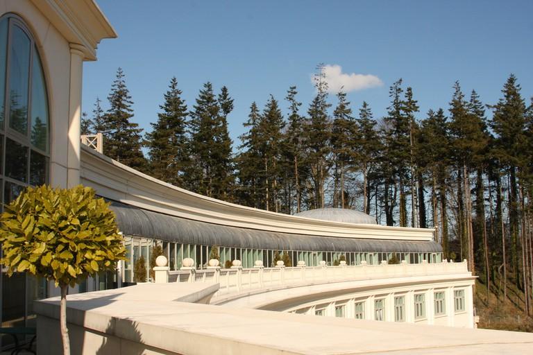 The balcony terrace at Powerscourt Hotel