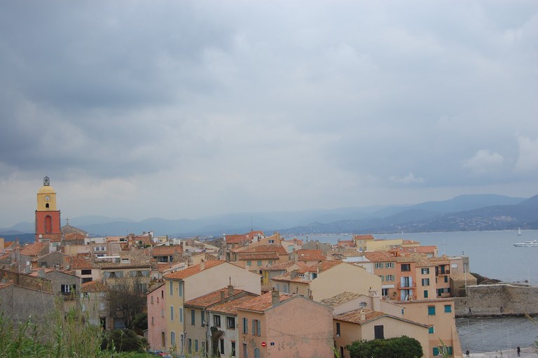 The roofs of St Tropez showing the bell tower from Notre Dame