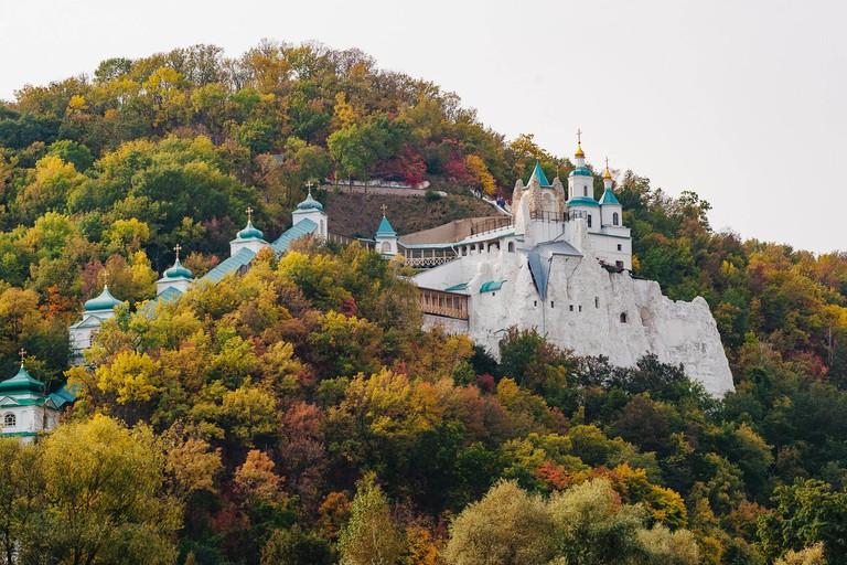 Svyatogorsk, Ukraine - September 29, 2019: Sviatohirsk Lavra or the Sviatohirsk Cave Monastery at the Sviatohori National Nature Park