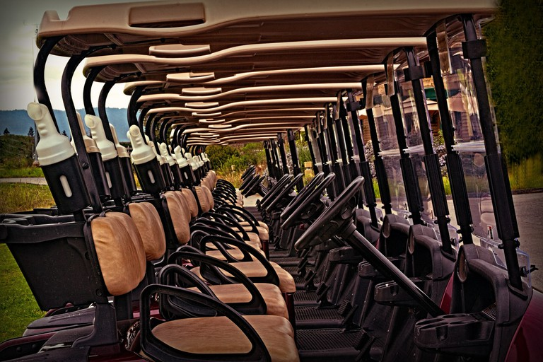 At many golf courses in Puerto Rico, carts are relatively inexpensive