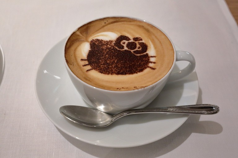 Coffee with Hello Kitty design