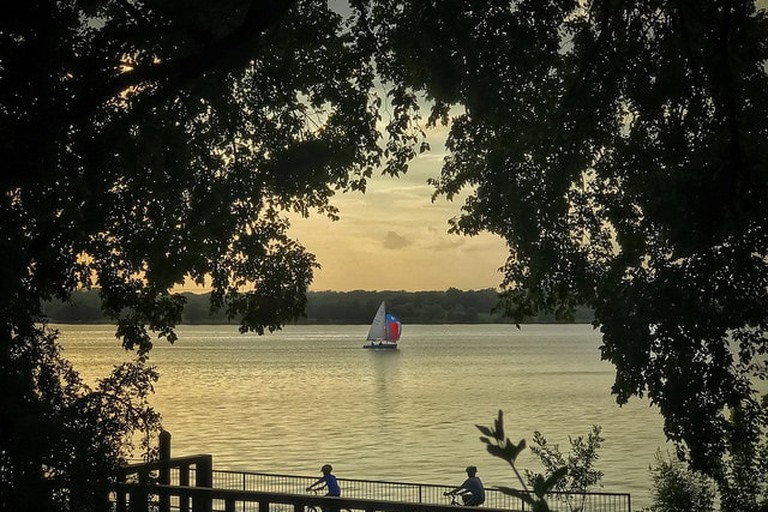 Biking and sailing are popular pastimes at White Rock Lake