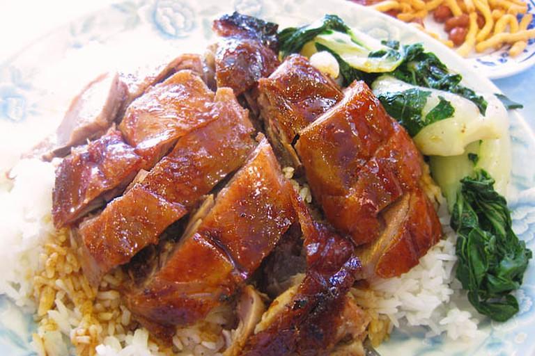 Roast duck on rice