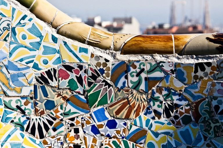 Detail of the Park Güell benches