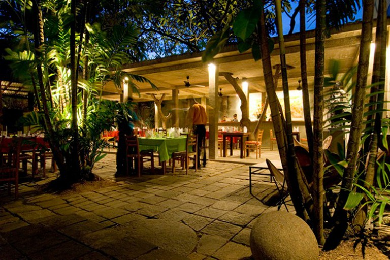 The Barefoot Garden Cafe in Colombo. At dusk..Architect: Amila de mel