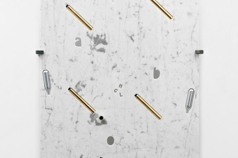 George Henry Longly, Labor, 2013, Marble, whipped cream chargers, Yves Saint Laurent Touche Éclat, and steel fixings, 82x57x18 cm