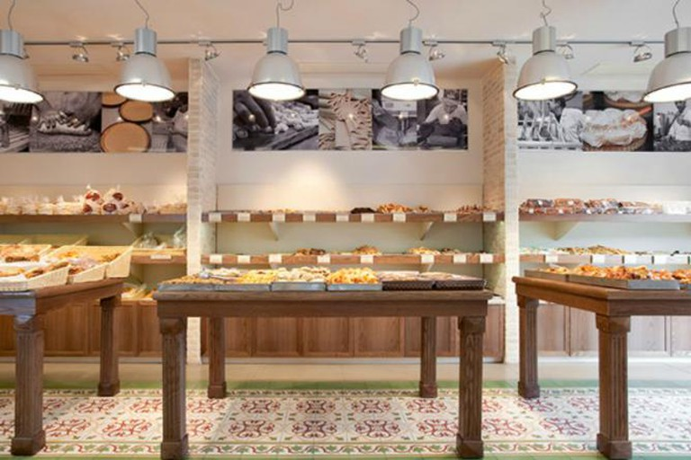 The impressive display of pastries at Bourekas Ima