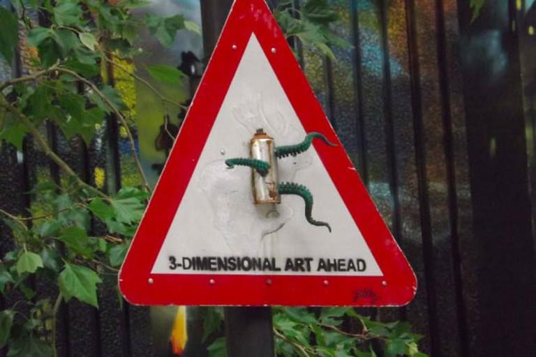 Sign at entrance of 'See No Evil' Graffiti Project, 2013