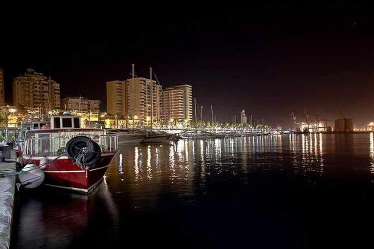 Malaga's harbour at night