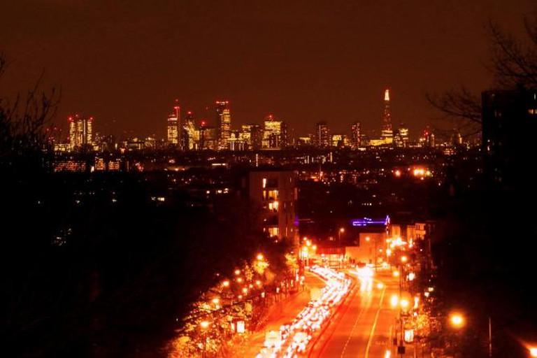 London lights from Archway Bridge