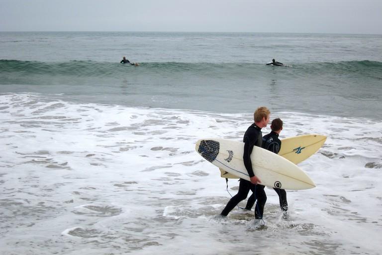 Surfers at Pleasure Point Beach