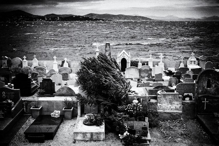 The cemetery at St Tropez sits right on the coast