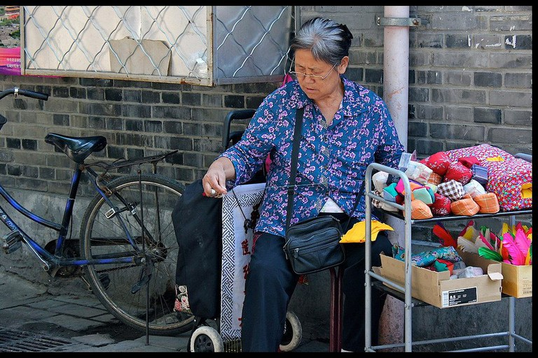 Knitting Lady in the Street