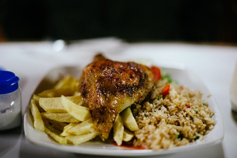 Peruvian grilled meat and fried rice