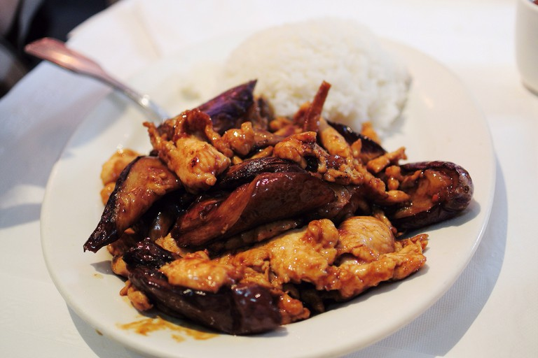 Eggplant with Chicken on Rice