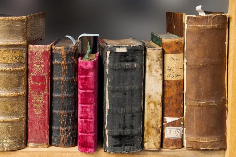 A shelf of rare books