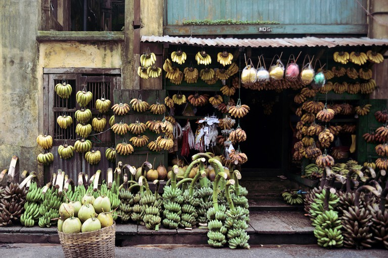 A banana shop on 17th Street in downtown Yangon