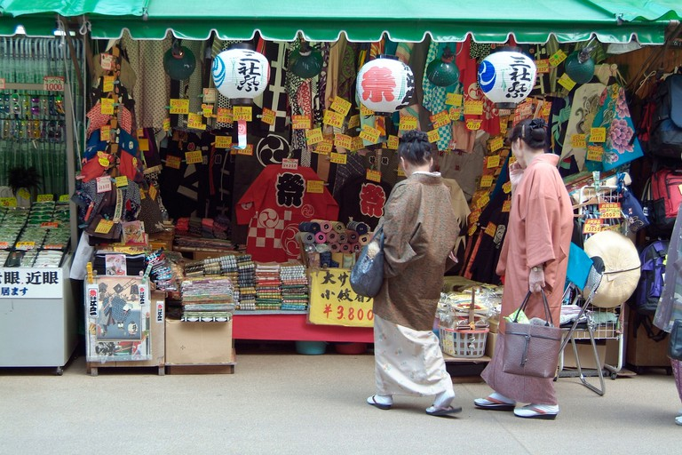 Women in traditional Japanese costume at Nakamise Shopping Street, Tokyo