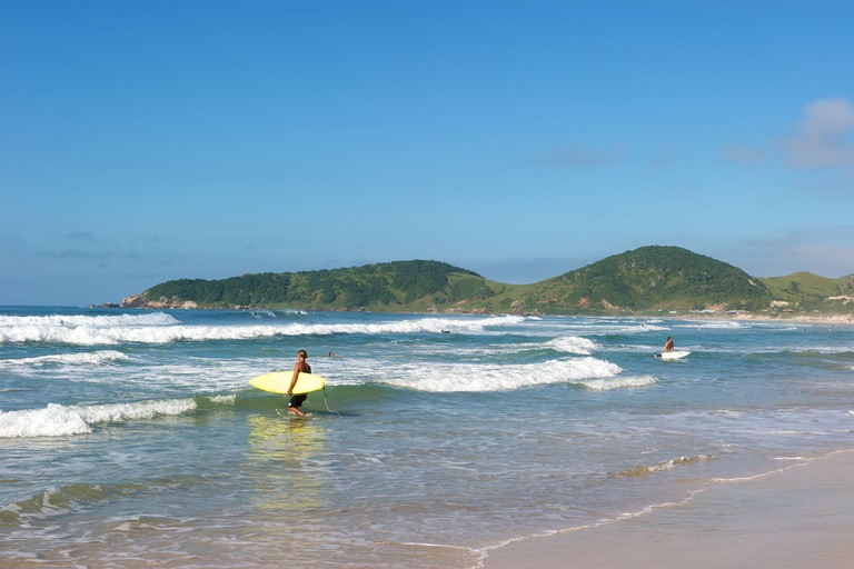 Paradise beach of Praia do Rosa in Santa Catarina state, Brazil. It is ranking as one of the most beautifuf beach in Brazil.