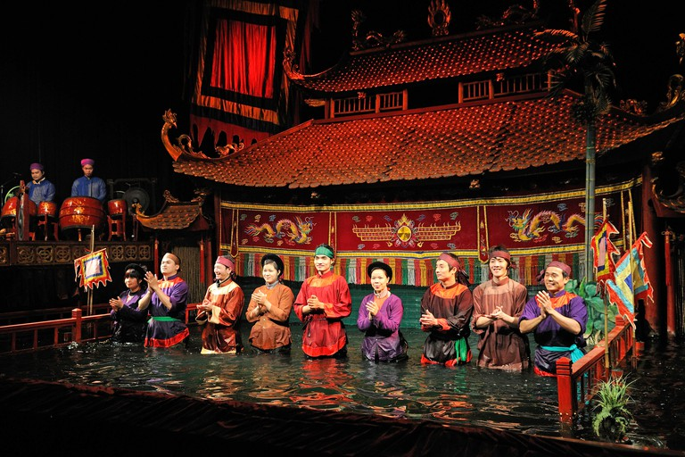 Puppeteers in the Thang Long Water Puppet Theatre, Hanoi, North Vietnam, Vietnam, Southeast Asia, Asia
