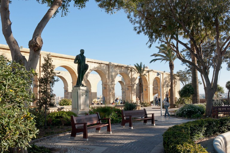 A view of the Upper Barrakka Gardens, a public garden and park in Valletta, Malta.. Image shot 03/2008. Exact date unknown.