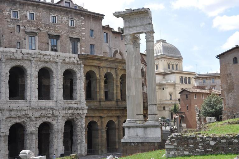 The Temple of Apollo Sosianus next to the Theatre of Marcellus