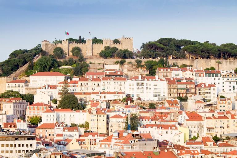 Panoramic view of Lisbon from Miradouro de Sao Pedro de Alcantara, Portugal
